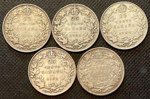 Lot Canada Silver 25 Cent Quarters Key Dates 1921 1931 1932 1933 1934