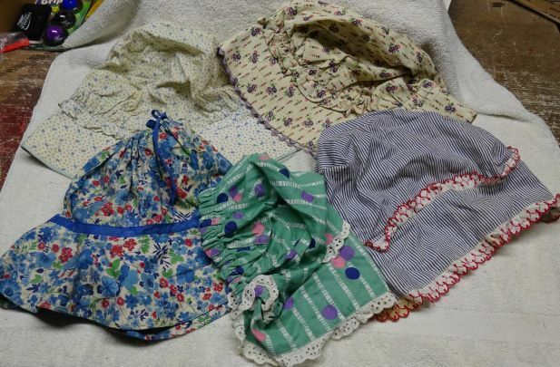 ** Lot of 5 diff - Vintage - Ladies Bonnets - old feed bags ?? - Amish Style