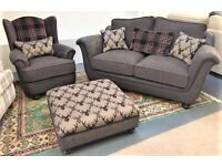 BRAND NEW luxury stag and tartan themed sofa suite. NOW FURTHER REDUCED TO £1200.