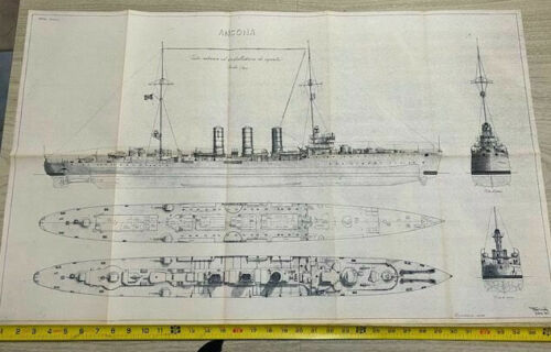 Vintage Warship Blueprint Plans Italian Cruiser Ancona x German SMS Graudenz