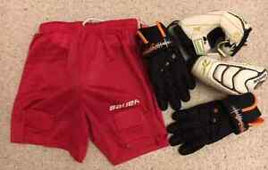 Lacrosse elbow pads, gloves & shorts