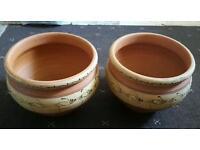 2 x Large Clay Garden Plant Pots