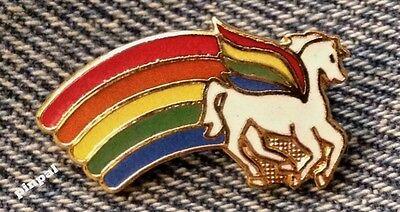 Rainbow Brooch Pin ~ Pegasus ~ 90's vintage cloisonne - Rainbow Pegasus