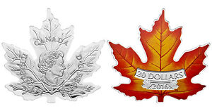 2016 $20 Pure Silver Coin - Canada's Colourful Maple Leaf - SALE