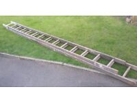 28ft Vintage Wooden Double Extension Ladders / Book Shelves / Shoe Rack Project