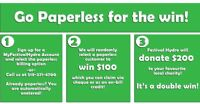 Go Paperless with Festival Hydro and WIN!