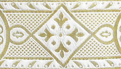 New Color, White & Metallic Gold, Medieval, Jacquard Trim for Chasuble, Vestment
