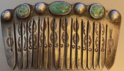 Best! Navajo Early Sterling Hair Ornament Comb No. 8 Mine Turquoise Hand Stamped