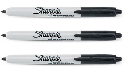 Sharpie Retractable Fine Point Tip Black Ink Permanent Markers 3pk