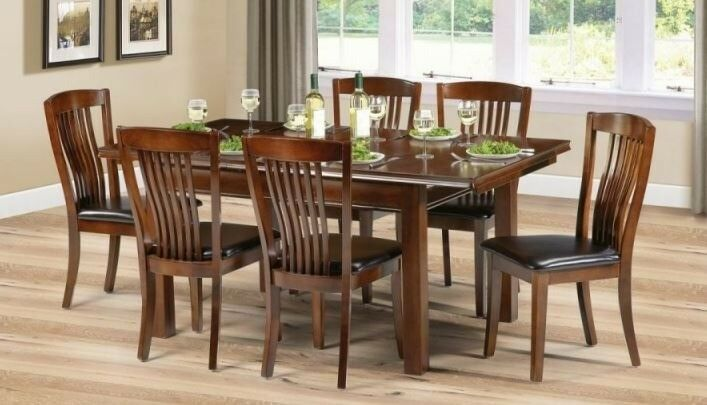 NEW Julian Bowen Canterbury Mahogany Extending Dining Table & 6 Chairs FREE DELIVERY 151 | in Leicester, Leicestershire | Gumtree
