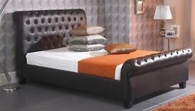 Brown leather chesterfield double bed