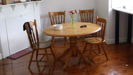 solid Australian hard wood timber dining table.