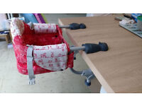 Chicco high chair that attaches to the table, used but in very good condition.