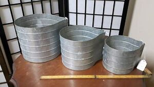 Set of 3 galvanized cans - Can be hung on wall