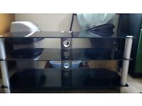 Black tinted Glass TV stand 3 shelves
