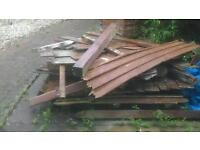Fence wood slats rails and posts for scrap or wood burning