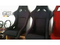 BRIDE style fixed back side mount bucket seats