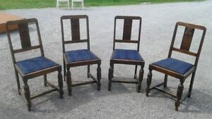 4 antique, solid wood chairs