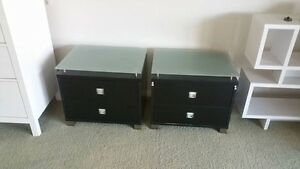 2 x tempered glass top drawer bedside tables Parkwood Gold Coast City Preview