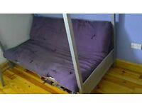 Metal single high sleeper and double folding sofa bed