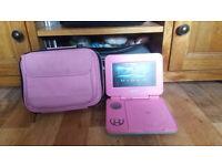 Portable pink dvd player