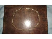 "9K Solid Yellow Gold 6.3mm 20"" Figaro Necklace"