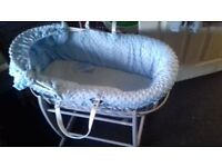 Clair de lune moses basket and stand blue very clean