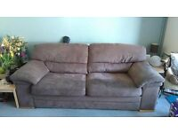 FREE - Three seater sofa and two chairs. Suedette finish, with removable cushions - FREE