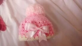 Pink and cream Tiny baby hat