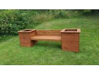 Wooden Garden Outdoor Decking Seat With Box Planters