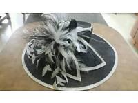 Ladies large brimmed Black & ivory Sinamay/feather wedding HAT