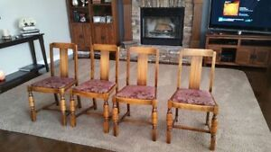 Antique Wood Dining Chairs (Set of 4)