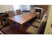 John Lewis solid oak dining table and 6 chairs