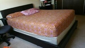 Moving Sale --Queen Size Bed Fame, Mattress and Box Spring