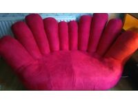 Unusual funky red hand sofa two seater