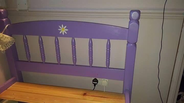 Single bed frame (used) wooden - painted purple - slatted base