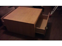 ssolid pine square coffee table with 2 large under storage draws if collected today 20.00