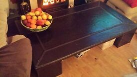 FAUX BROWN LEATHER COFFEE TABLE