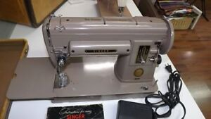 Tan Singer 301 Long-bed Sewing Machine: fully serviced!!
