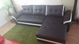 Leather Corner Sofa - Bed