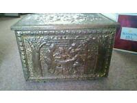Antique hammered brass coal box