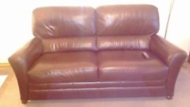 brown leather suite 2 seater and 3 seater