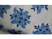 Vintage blue floral print fabric
