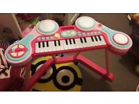 Childs toy musical instruments - Piano, Drum kit, Microphone