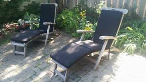 Teak patio steamer chairs for sale