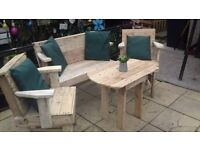 Garden seating made from recycled wood.