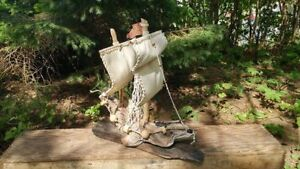 Beautifully Handcrafted Driftwood Sailboat