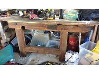 Solid chunky vintage workshop work bench