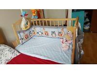 Baby cot 3in1. Cot / beside cot / swinging cot