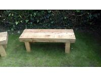 Handmade wood garden bench